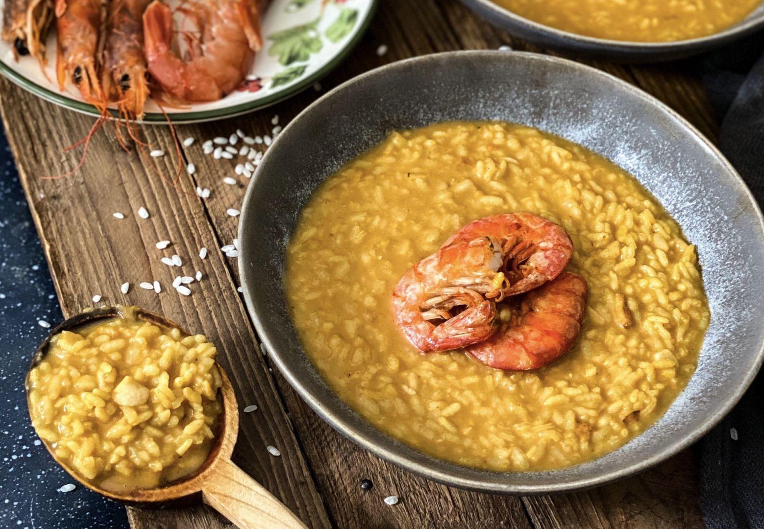 Krémová rýže s krevetami